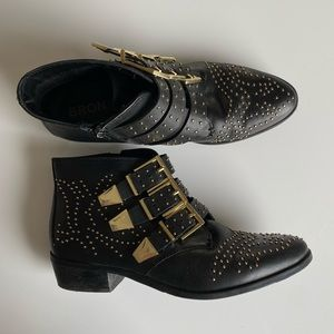 Bronx Studded Boots with Buckles
